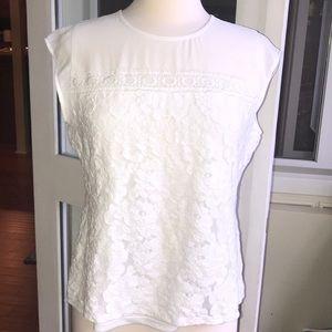 Karl Lagerfeld Paris white lace blouse